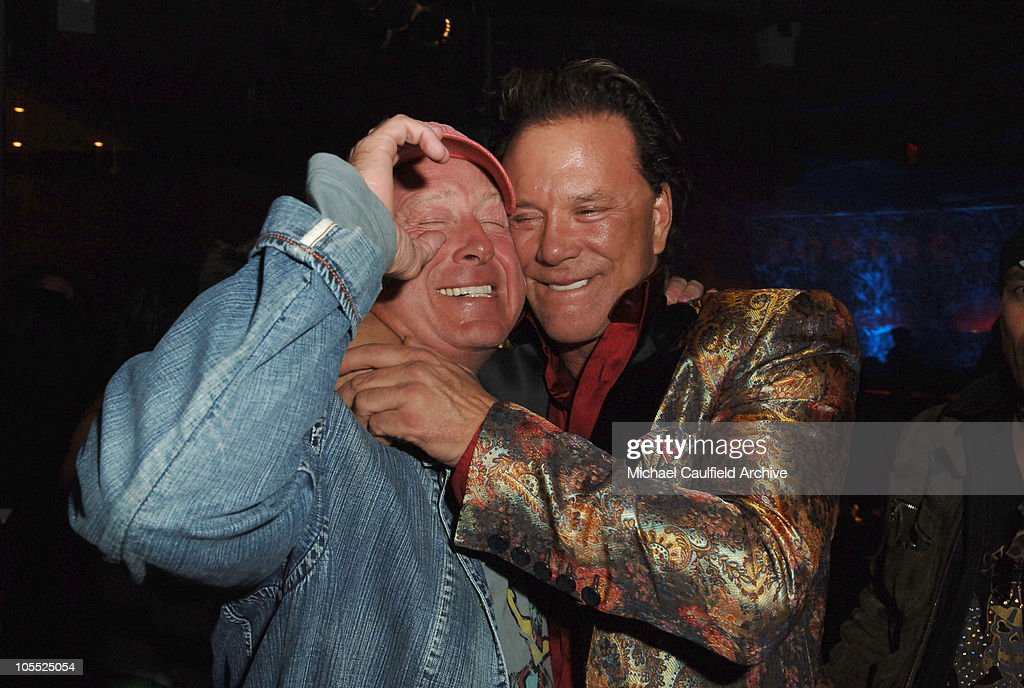 Tony Scott director and Mickey Rourke during New Line Cinema's 'Domino' Los Angeles Premiere After Party at The Highlands in Los Angeles California...