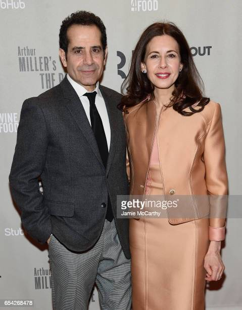 Tony Shalhoub and Jessica Hecht attend the Arthur Miller's 'The Price' Broadway Opening Night at American Airlines Theatre on March 16 2017 in New...