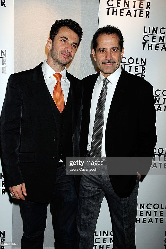 <a gi-track='captionPersonalityLinkClicked' href=/galleries/search?phrase=Tony+Shalhoub&family=editorial&specificpeople=203214 ng-click='$event.stopPropagation()'>Tony Shalhoub</a> (R) and Michael Aronov attend 'Golden Boy' Opening Night Party at Millennium Broadway Hotel on December 6, 2012 in New York City.