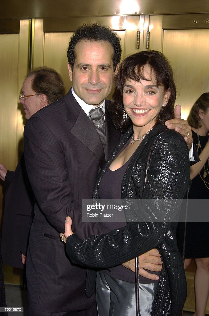 Tony Shalhoub and wife Brooke Adams at the 59th Annual Tony Awards - Outside Arrivals at Radio City Music Hall in New York, New York.