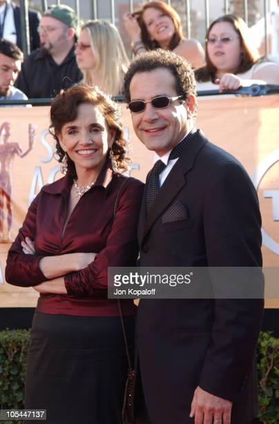 Tony Shalhoub and wife Brooke Adams during 2005 Screen Actors Guild Awards Arrivals at The Shrine in Los Angeles California United States