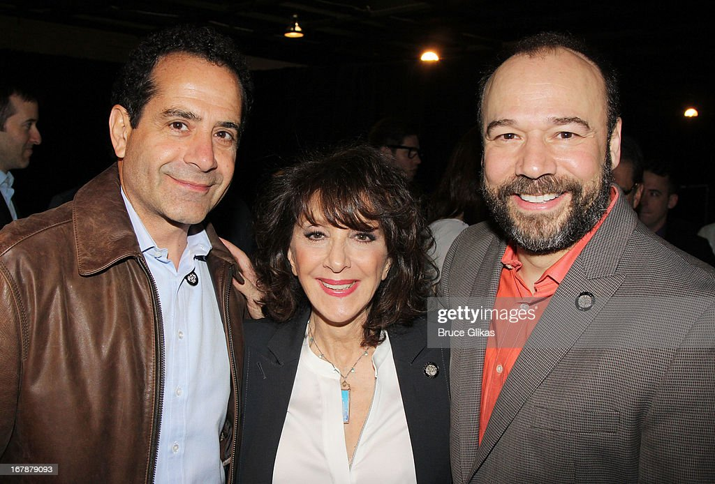 Tony Shalhoub, Andrea Martin and Danny Burstein attend the 2013 Tony Awards: The Meet The Nominees Press Junket at the Millenium Hilton on May 1, 2013 in New York City.