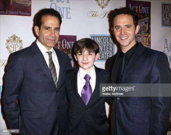 Tony Shalhoub Matthew Schechter and Santino Fontana attend the opening night party for 'Act One' at The Plaza Hotel on April 17 2014 in New York City