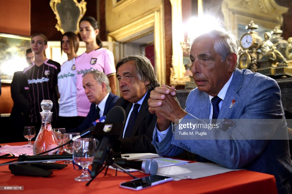 Tony Sichera of US Citta' di Palermo, Leoluca Orlando Mayor of Palermo and Tommaso Dragotto of Sicily by Car answers questions during the presentation of Sicily by Car as new main sponsor of US Citta' di Palermo at Villa Niscemi on August 22, 2017 in Palermo, Italy.