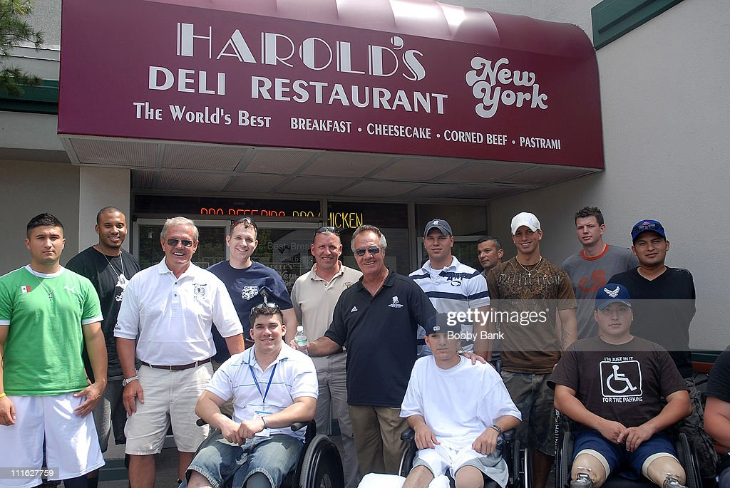 Tony Sirico of the Sopranos and Flip Mullen of The Wounded Warrior Project and Soldiers attend the Wounded Warrior Soldiers Project luncheon at Harold's Deli on July 10, 2008 in Edison, New Jersey.