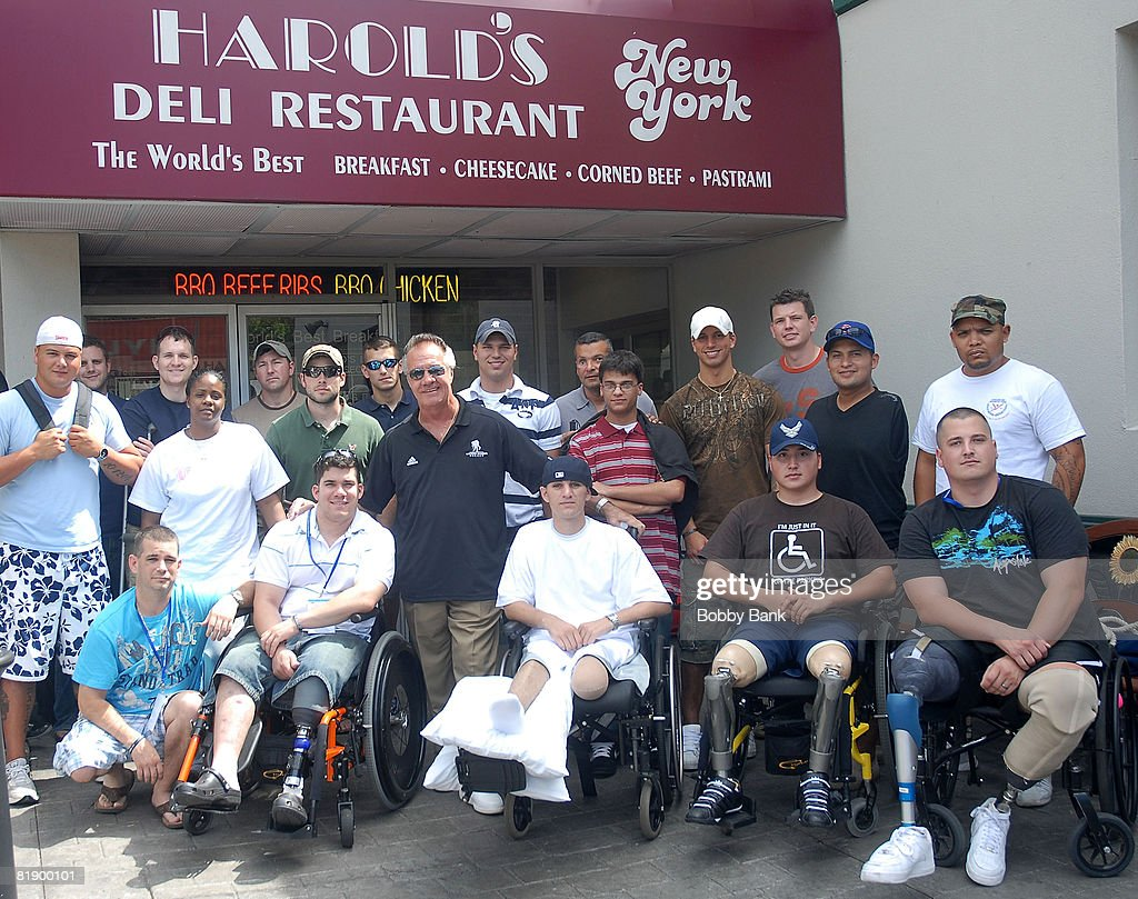 Tony Sirico of the Sopranos with Soldiers of the Wounded Warrior Project attend the Wounded Warrior Soldiers Project luncheon at Harold's Deli on July 10, 2008 in Edison, New Jersey.