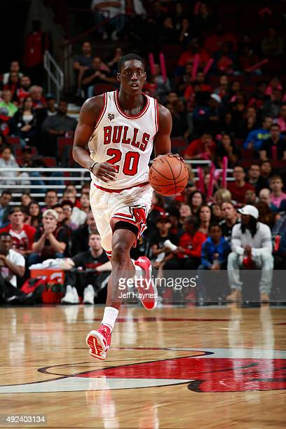 Tony Snell of the Chicago Bulls brings the ball up court against the New Orleans Pelicans on October 12 2015 at the United Center in Chicago Illinois...