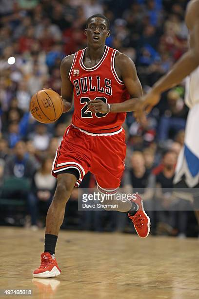 Tony Snell of the Chicago Bulls dribbles the ball against the Minnesota Timberwolves during the preseason game as part of NBA Canada Series 2015 on...
