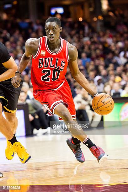 Tony Snell of the Chicago Bulls drives down the court during the first half against the Cleveland Cavaliers at Quicken Loans Arena on February 18...