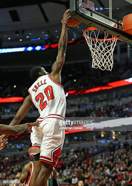 Tony Snell of the Chicago Bulls goes up for a dunk on his way to a gamehigh 20 points against the Milwaukee Bucks at the United Center on February 23...