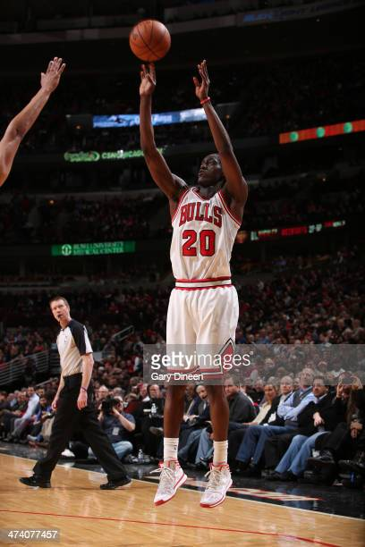 Tony Snell of the Chicago Bulls puts up a shot during the game against the Denver Nuggets on February 21 2014 at the United Center in Chicago...