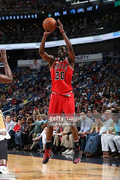Tony Snell of the Chicago Bulls shoots against the New Orleans Pelicans on April 11 2016 at the Smoothie King Center in New Orleans Louisiana NOTE TO...