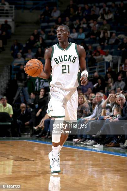 Tony Snell of the Milwaukee Bucks handles the ball against the Denver Nuggets on March 1 2017 at the BMO Harris Bradley Center in Milwaukee Wisconsin...