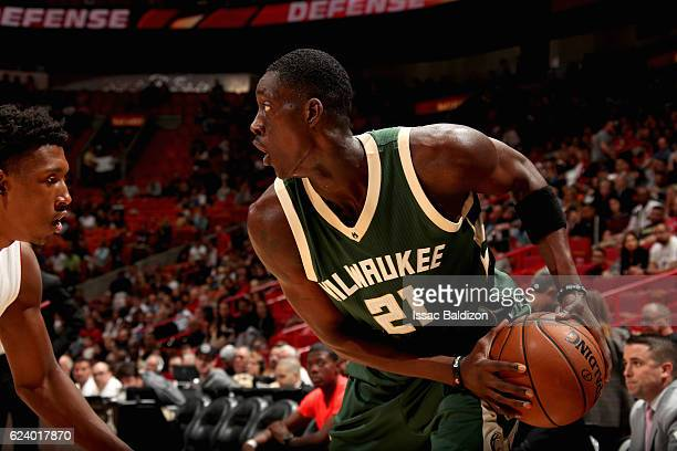Tony Snell of the Milwaukee Bucks handles the ball against the Miami Heat on November 17 2016 at American Airlines Arena in Miami Florida NOTE TO...