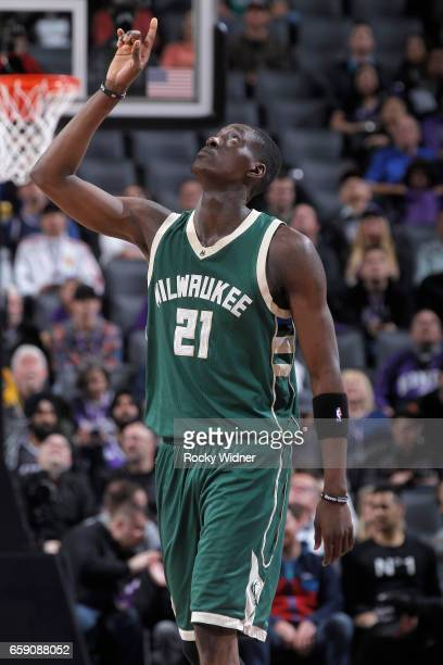 Tony Snell of the Milwaukee Bucks looks on during the game against the Sacramento Kings on March 22 2017 at Golden 1 Center in Sacramento California...