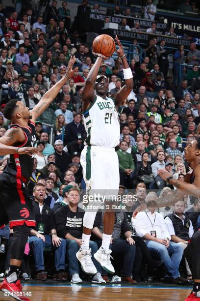 Tony Snell of the Milwaukee Bucks shoots the ball against the Toronto Raptors during Game Six of the Eastern Conference Quarterfinals of the 2017 NBA...