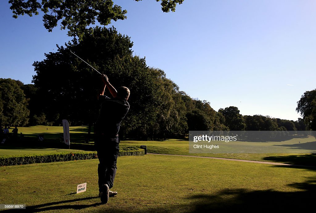 Tony Stevens of Davenport Golf Club plays a tee shot during the PGA ProCaptain North Qualifier at Dunham Forest Golf Club on August 26 2016 in...