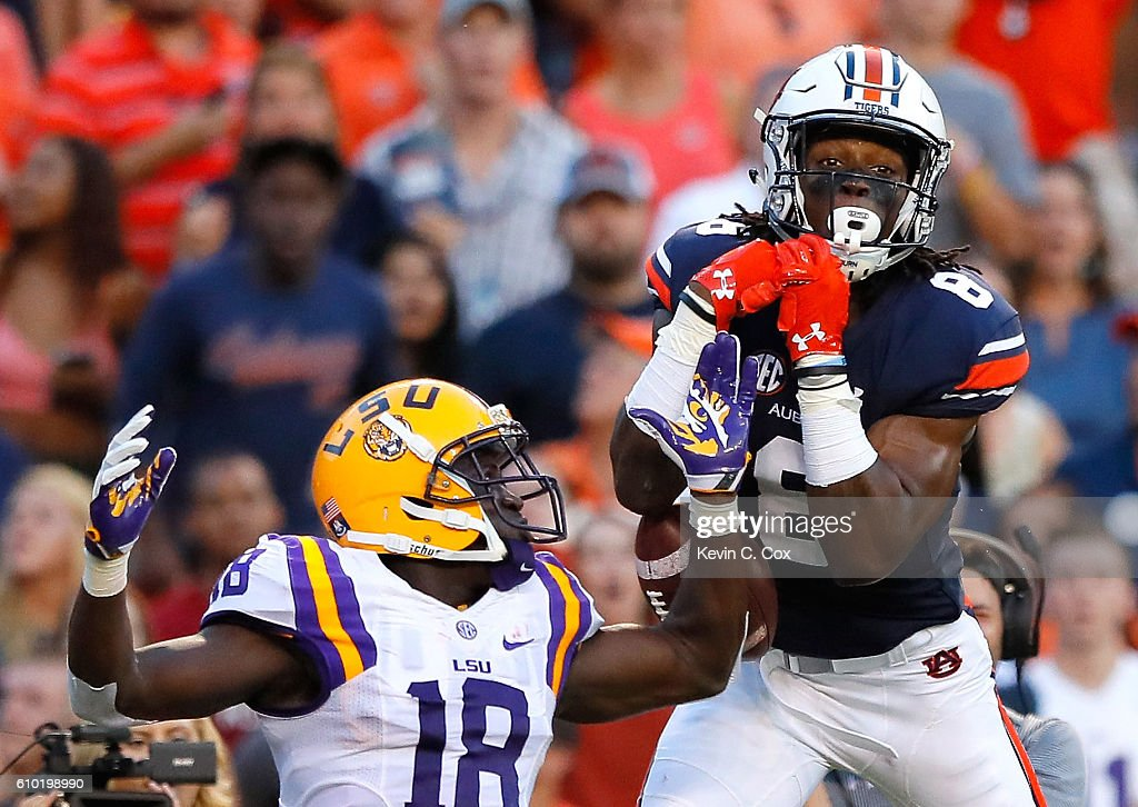 Tony Stevens #8 of the Auburn Tigers fails to pull in this touchdown reception against Tre'Davious White #18 of the LSU Tigers at Jordan-Hare Stadium on September 24, 2016 in Auburn, Alabama.
