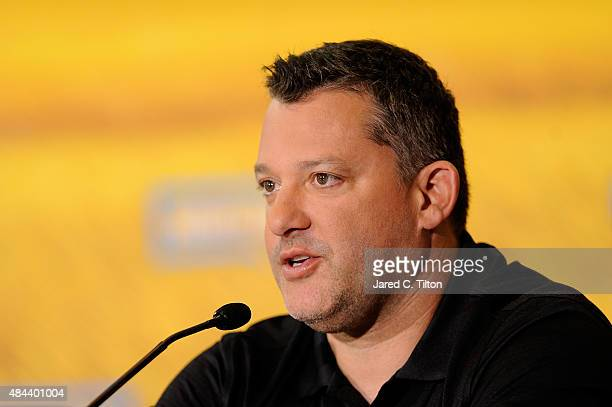 Tony Stewart coowener of StewartHaas Racing speaks with the media after announcing a multiyear deal partnership between Danica Patrick and Nature's...