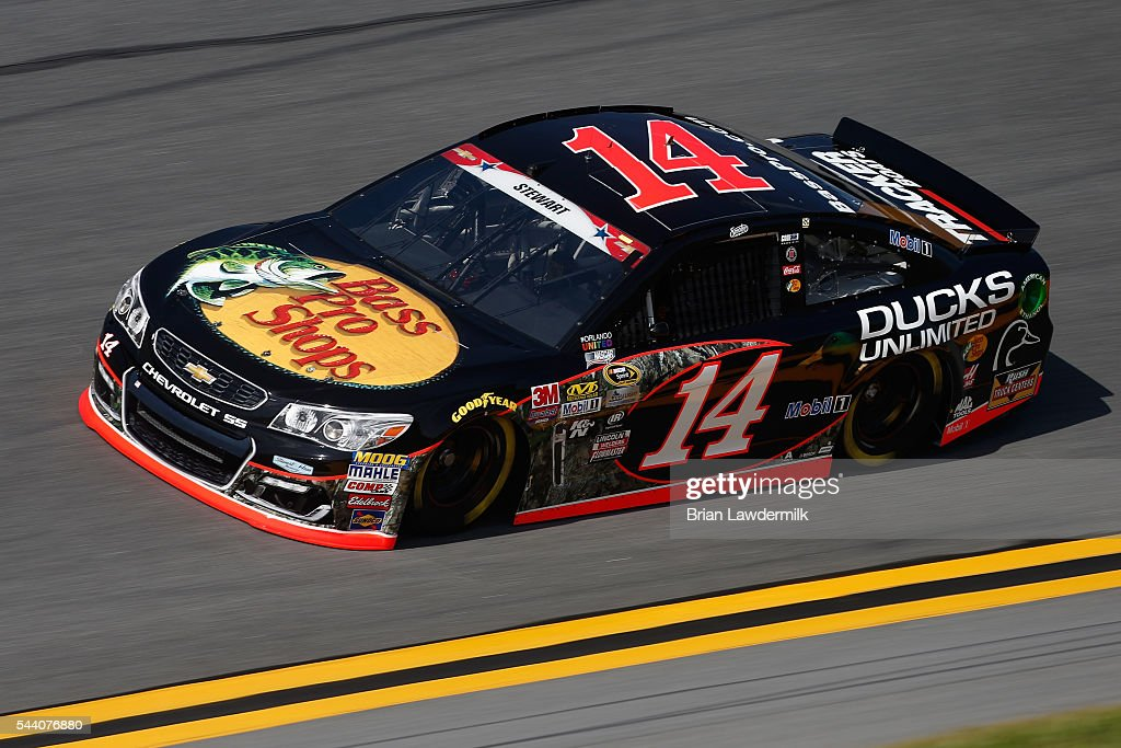 Tony Stewart, driver of the #14 Bass Pro Shops Chevrolet, practices for the NASCAR Sprint Cup Series Coke Zero 400 at Daytona International Speedway on July 1, 2016 in Daytona Beach, Florida.