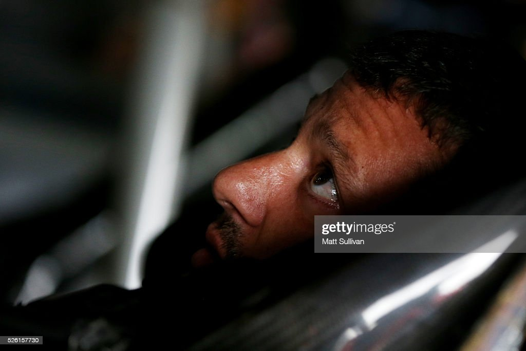 <a gi-track='captionPersonalityLinkClicked' href=/galleries/search?phrase=Tony+Stewart+-+Race+Car+Driver&family=editorial&specificpeople=201686 ng-click='$event.stopPropagation()'>Tony Stewart</a>, driver of the #14 Bass Pro Shops Chevrolet, sits in his car during practice for the NASCAR Sprint Cup Series GEICO 500 at Talladega Superspeedway on April 29, 2016 in Talladega, Alabama.