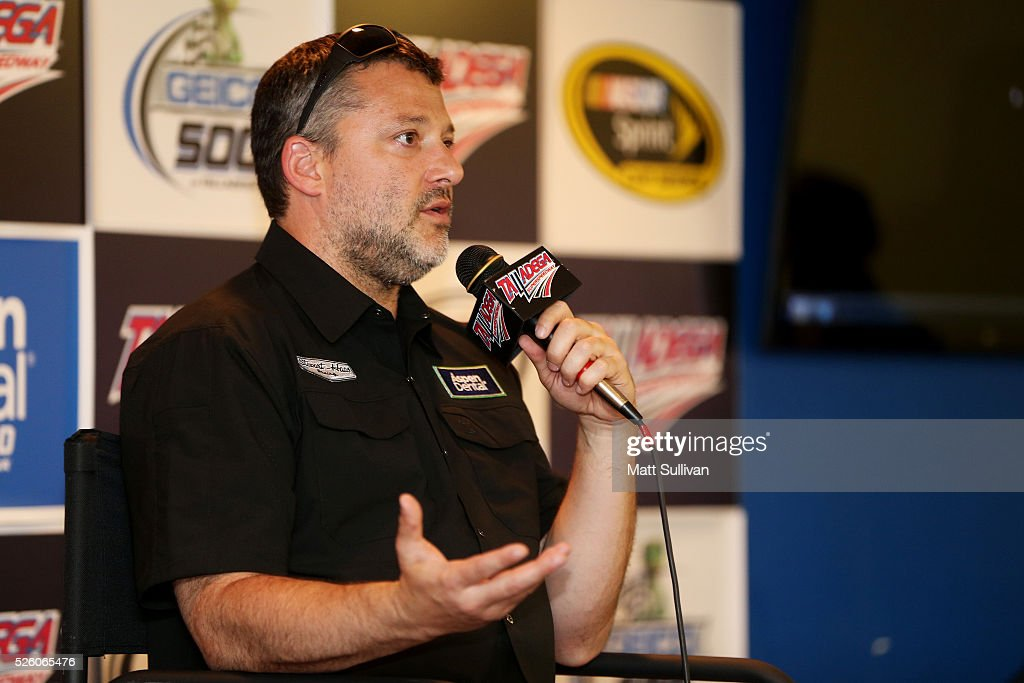 <a gi-track='captionPersonalityLinkClicked' href=/galleries/search?phrase=Tony+Stewart+-+Race+Car+Driver&family=editorial&specificpeople=201686 ng-click='$event.stopPropagation()'>Tony Stewart</a>, driver of the #14 Bass Pro Shops Chevrolet, speaks to the media during a press conference prior to practice for the NASCAR Sprint Cup Series GEICO 500 at Talladega Superspeedway on April 29, 2016 in Talladega, Alabama.