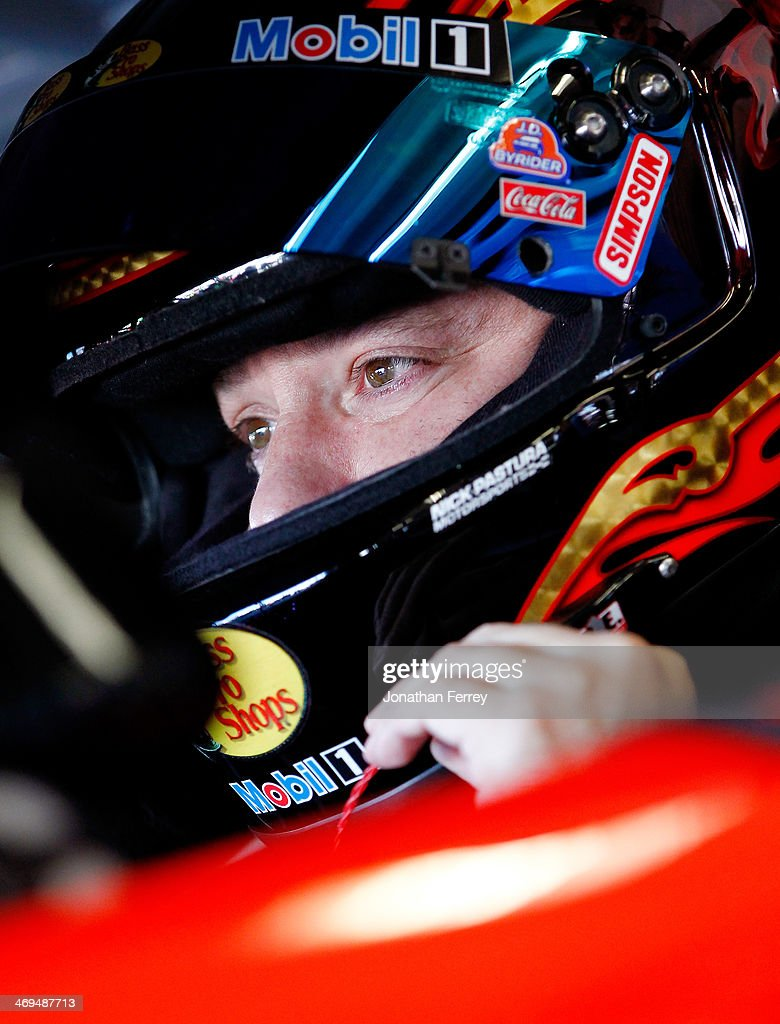 <a gi-track='captionPersonalityLinkClicked' href=/galleries/search?phrase=Tony+Stewart+-+Race+Car+Driver&family=editorial&specificpeople=201686 ng-click='$event.stopPropagation()'>Tony Stewart</a>, driver of the #14 Bass Pro Shops / Mobil 1 Chevrolet, sits in his car during practice for the NASCAR Sprint Cup Series Daytona 500 at Daytona International Speedway on February 15, 2014 in Daytona Beach, Florida.