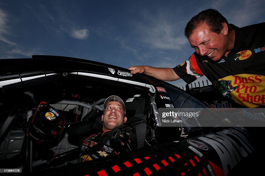 <a gi-track='captionPersonalityLinkClicked' href=/galleries/search?phrase=Tony+Stewart+-+Race+Car+Driver&family=editorial&specificpeople=201686 ng-click='$event.stopPropagation()'>Tony Stewart</a>, driver of the #14 Bass Pro Shops/Arctic Cat Chevrolet, sits in his car during qualifying for the NASCAR Sprint Cup Series Sprint All-Star Race at Charlotte Motor Speedway on May 16, 2015 in Charlotte, North Carolina.
