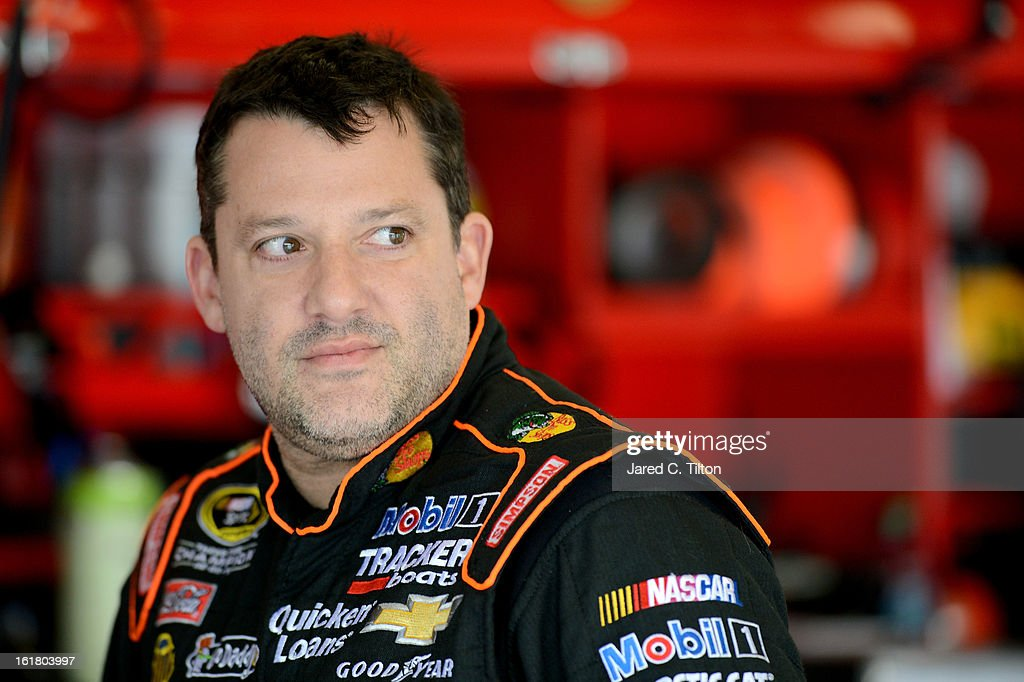 <a gi-track='captionPersonalityLinkClicked' href=/galleries/search?phrase=Tony+Stewart+-+Race+Car+Driver&family=editorial&specificpeople=201686 ng-click='$event.stopPropagation()'>Tony Stewart</a>, driver of the #14 Bass Pro Shops/Mobil 1 Chevrolet, during practice for the NASCAR Sprint Cup Series Daytona 500 at Daytona International Speedway on February 16, 2013 in Daytona Beach, Florida