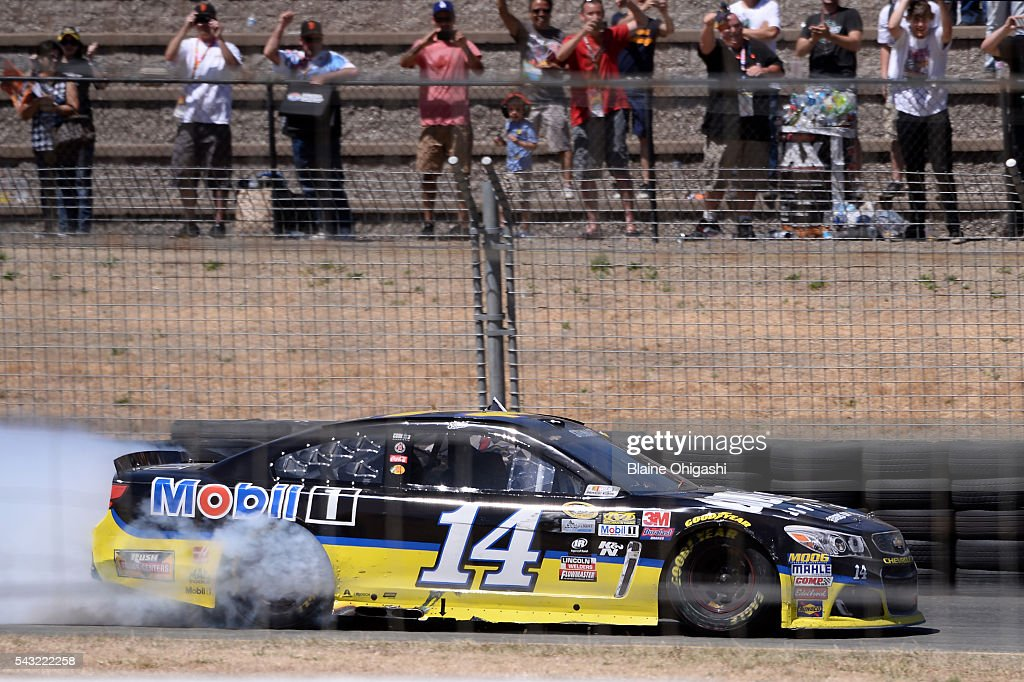 <a gi-track='captionPersonalityLinkClicked' href=/galleries/search?phrase=Tony+Stewart+-+Race+Car+Driver&family=editorial&specificpeople=201686 ng-click='$event.stopPropagation()'>Tony Stewart</a>, driver of the #14 Code 3 Assoc/Mobil 1 Chevrolet, celebrates with a burnout after winning the NASCAR Sprint Cup Series Toyota/Save Mart 350 at Sonoma Raceway on June 26, 2016 in Sonoma, California.