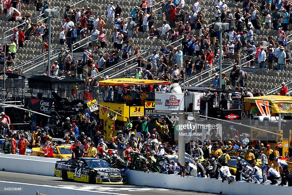 <a gi-track='captionPersonalityLinkClicked' href=/galleries/search?phrase=Tony+Stewart+-+Race+Car+Driver&family=editorial&specificpeople=201686 ng-click='$event.stopPropagation()'>Tony Stewart</a>, driver of the #14 Code 3 Assoc/Mobil 1 Chevrolet, celebrates after winning the NASCAR Sprint Cup Series Toyota/Save Mart 350 at Sonoma Raceway on June 26, 2016 in Sonoma, California.