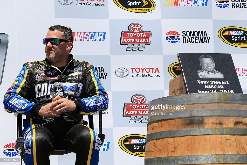 <a gi-track='captionPersonalityLinkClicked' href=/galleries/search?phrase=Tony+Stewart+-+Race+Car+Driver&family=editorial&specificpeople=201686 ng-click='$event.stopPropagation()'>Tony Stewart</a>, driver of the #14 Code 3 Assoc/Mobil 1 Chevrolet, is inducted into the Sonoma Raceway Wall Of Fame after practice for the NASCAR Sprint Cup Series Toyota/Save Mart 350 at Sonoma Raceway on June 24, 2016 in Sonoma, California.