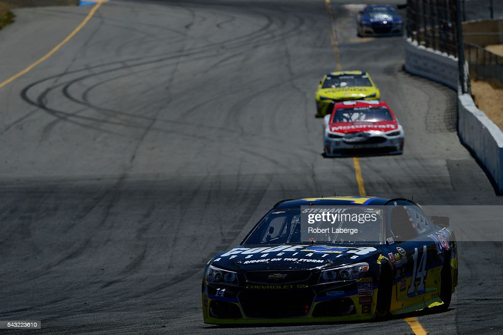 <a gi-track='captionPersonalityLinkClicked' href=/galleries/search?phrase=Tony+Stewart+-+Race+Car+Driver&family=editorial&specificpeople=201686 ng-click='$event.stopPropagation()'>Tony Stewart</a>, driver of the #14 Code 3 Assoc/Mobil 1 Chevrolet, races during the NASCAR Sprint Cup Series Toyota/Save Mart 350 at Sonoma Raceway on June 26, 2016 in Sonoma, California.