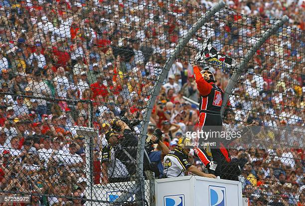 Tony Stewart driver of the Home Depot Chevrolet celebrates winning the NASCAR Nextel Cup Series DirectTV 500 on April 2 2006 at the Martinsville...