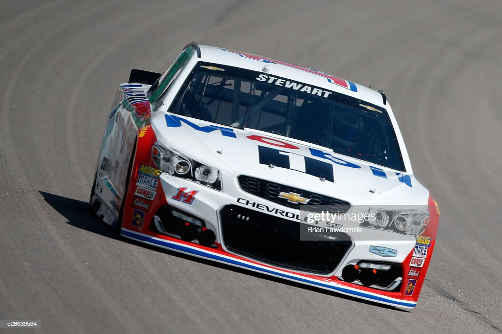 Tony Stewart, driver of the #14 Mobil 1 Chevrolet, drives during practice for the NASCAR Sprint Cup Series Go Bowling 400 at Kansas Speedway on May 6, 2016 in Kansas City, Kansas.