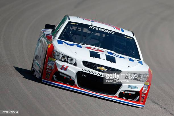 Tony Stewart driver of the Mobil 1 Chevrolet drives during practice for the NASCAR Sprint Cup Series Go Bowling 400 at Kansas Speedway on May 6 2016...