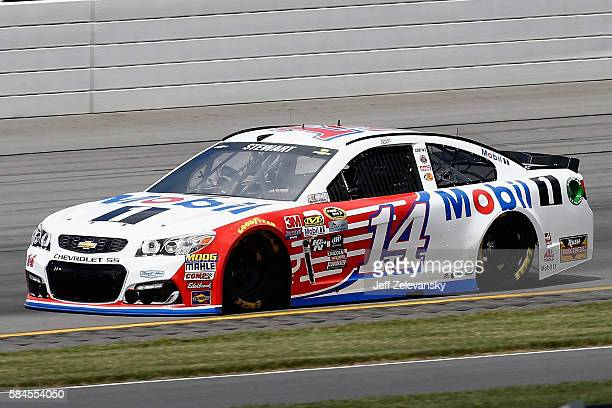 Tony Stewart driver of the Mobil 1 Chevrolet drives during practice for the NASCAR Sprint Cup Series Pennsylvania 400 at Pocono Raceway on July 29...