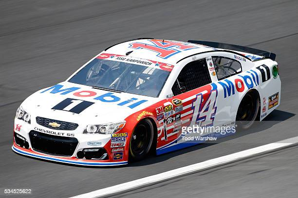 Tony Stewart driver of the Mobil 1 Chevrolet practices for the NASCAR Sprint Cup Series CocaCola 600 at Charlotte Motor Speedway on May 27 2016 in...