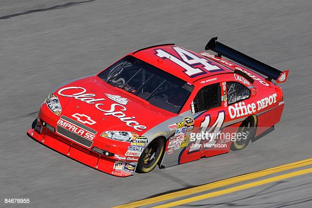 Tony Stewart driver of the Old Spice/Office Depot Chevorlet drives during practice for the Budweiser Shootout at Daytona International Speedway on...
