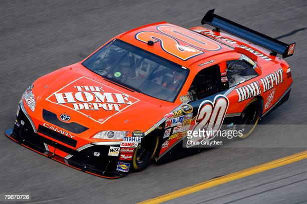 Tony Stewart driver of the The Home Depot Toyota practices for the Budweiser Shootout at Daytona International Speedway on February 8 2008 in Daytona...