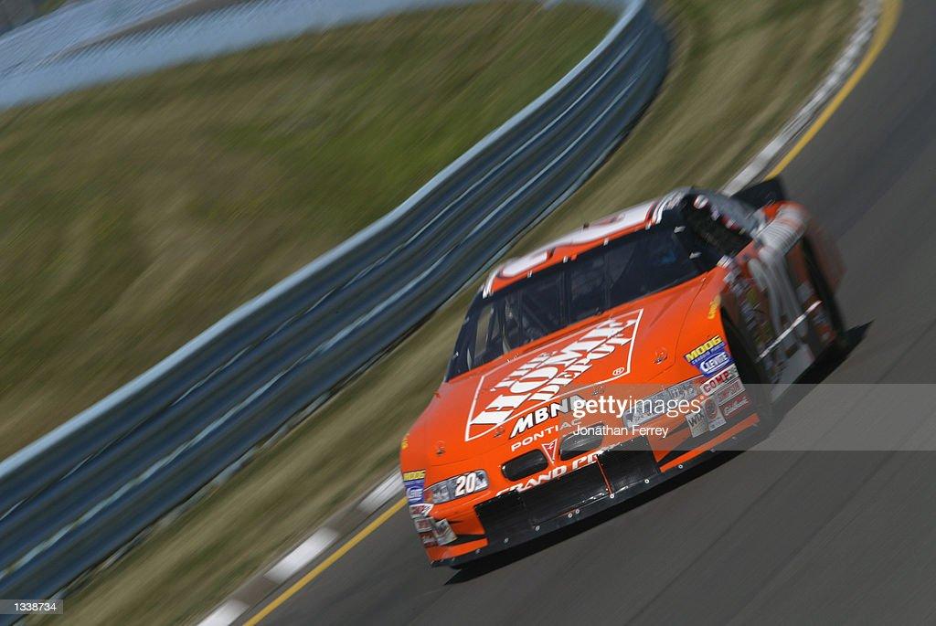 Tony Stewart drives his Home DePot Pontiac on August 9 2002 during the NASCAR Winston Cup SIRIUS Satelite Radio The Glen at Watkins Glen...