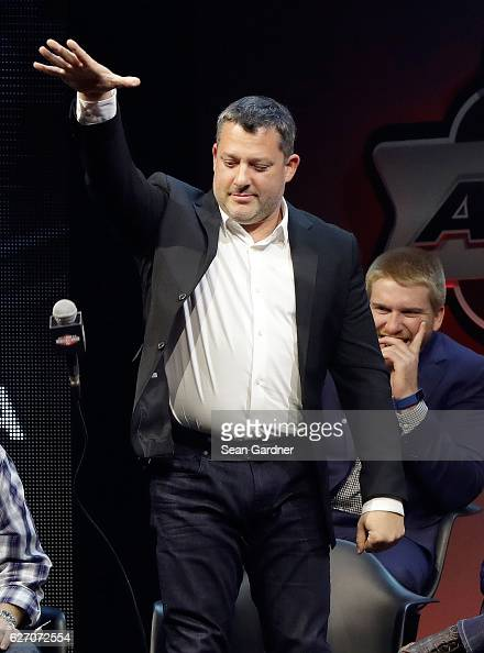 Tony Stewart drops the mic during NASCAR After The Lap at The Pearl concert theater at Palms Casino Resort on December 1 2016 in Las Vegas Nevada