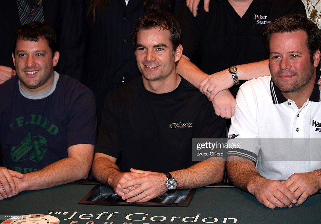 Tony Stewart Jeff Gordon and Robby Gordon during The Jeff Gordon Foundation Poker Classic at Caesars Palace at Caesars Palace's Poker Room in Las...
