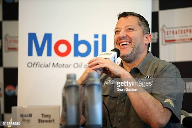 Tony Stewart talks to the media during practice for the NASCAR Sprint Cup Series Kobalt 400 at Las Vegas Motor Speedway on March 4 2016 in Las Vegas...
