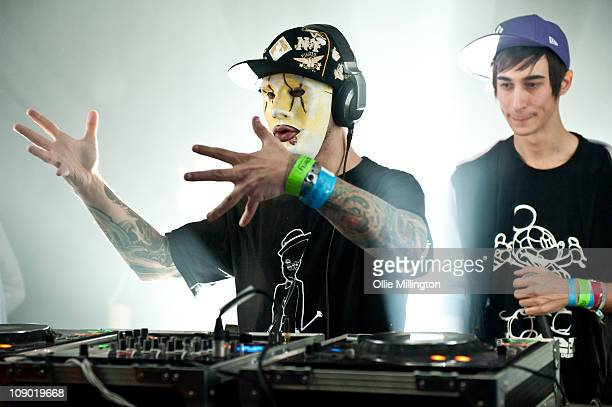 Tony Terror and Josh Modestep of Modestep perform onstage at o2 Academy on February 11 2011 in Leicester England