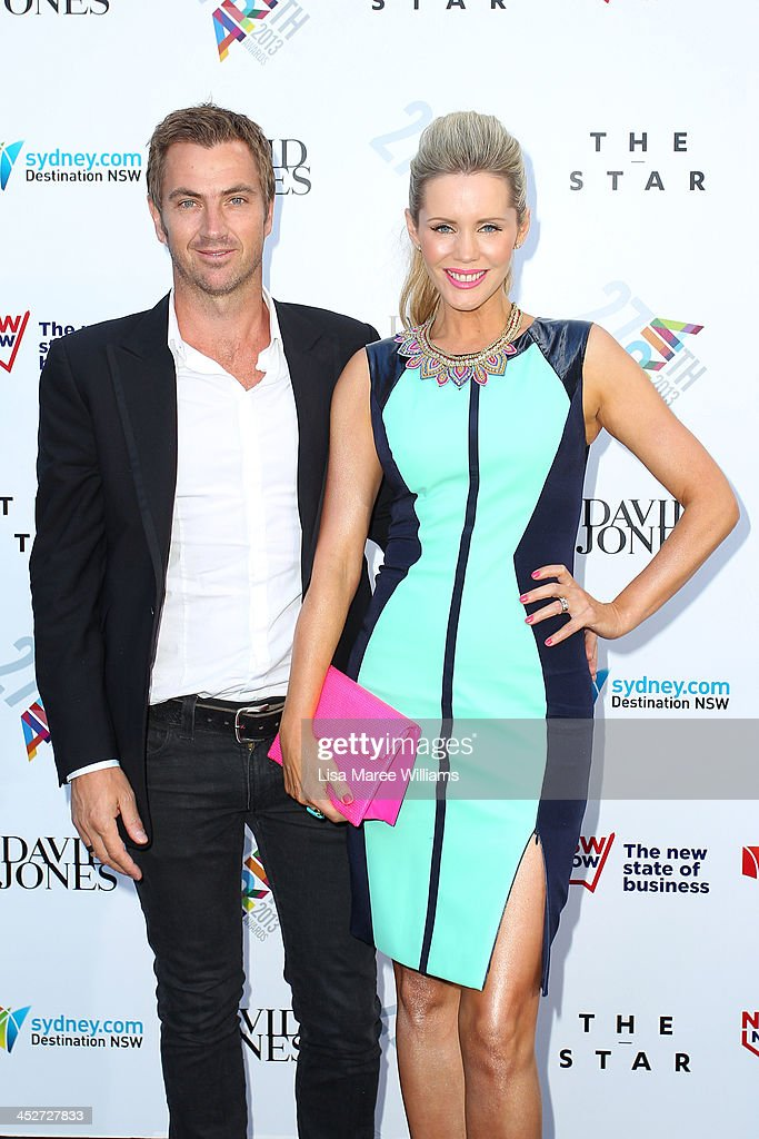 Tony Thomas and Sophie Falkiner arrive at the 27th Annual ARIA Awards 2013 at the Star on December 1, 2013 in Sydney, Australia.