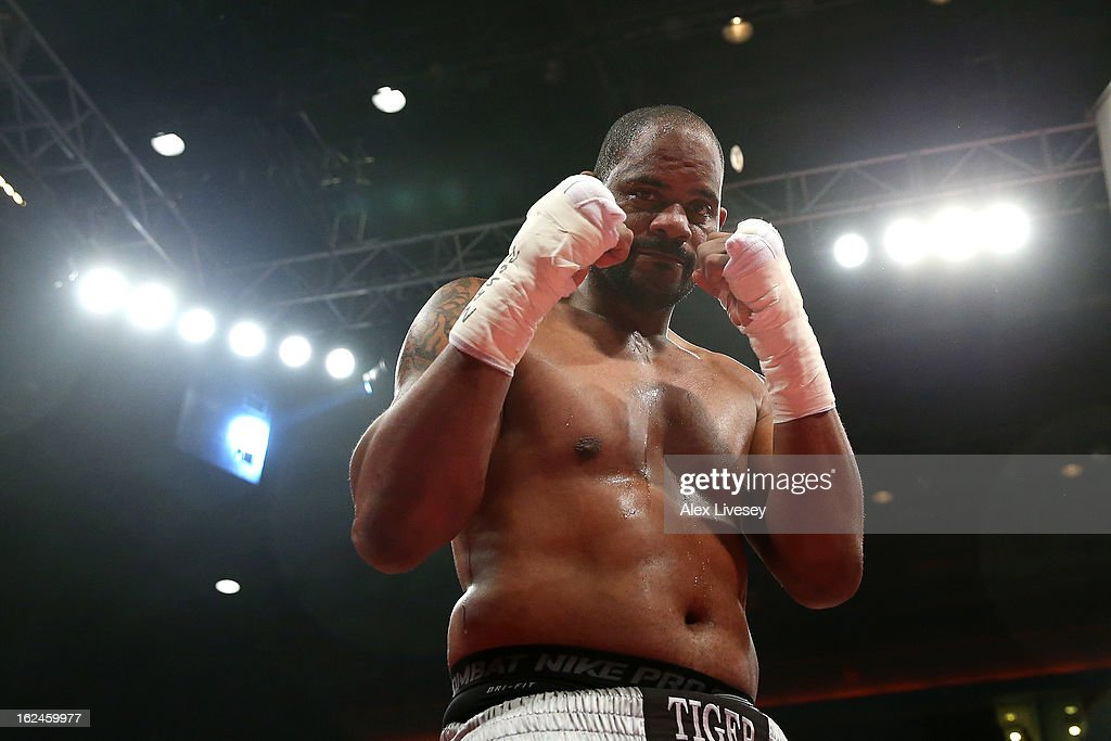 <a gi-track='captionPersonalityLinkClicked' href=/galleries/search?phrase=Tony+Thompson&family=editorial&specificpeople=801462 ng-click='$event.stopPropagation()'>Tony Thompson</a> of USA celebrates after defeating David Price of Great Britain in the International Heavyweight Fight between David Price and <a gi-track='captionPersonalityLinkClicked' href=/galleries/search?phrase=Tony+Thompson&family=editorial&specificpeople=801462 ng-click='$event.stopPropagation()'>Tony Thompson</a> at the Echo Arena on February 23, 2013 in Liverpool, England.