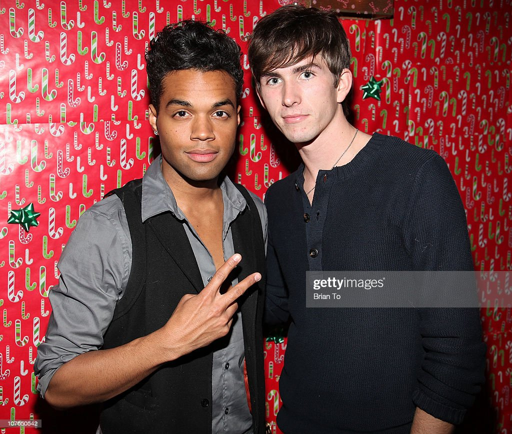 Tony Vennie and Sean Verchick attend Tacky Christmas Tree skirt party hosted by James Costa on December 16, 2010 in Los Angeles, California.