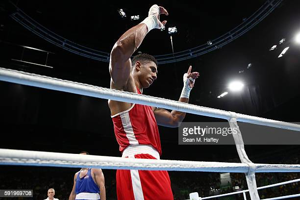 Tony Victor James Yoka of France reacts after fighting Filip Hrgovic of Croatia in the Men's Super Heavy 91kg Semifinal 1 on Day 14 of the Rio 2016...