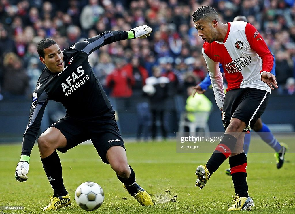 Tony Vilhena (R), goalkeeper Esteban (L) during the Dutch Eredivisie match between Feyenoord and AZ Alkmaar at stadium De Kuip on february 10, 2013 in Rotterdam, The Netherlands
